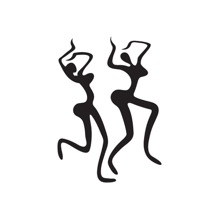 exotic dancer: Flat icon in black and white  carnival dancers