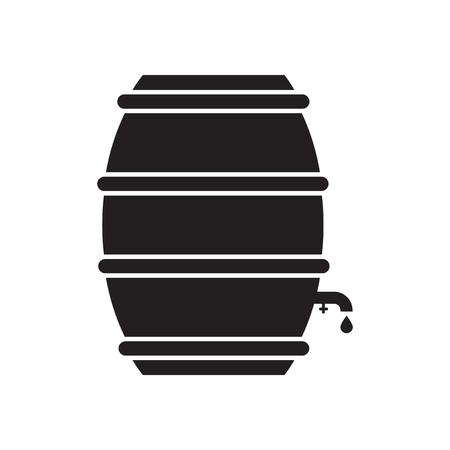 keg: Flat icon in black and white  beer keg Illustration