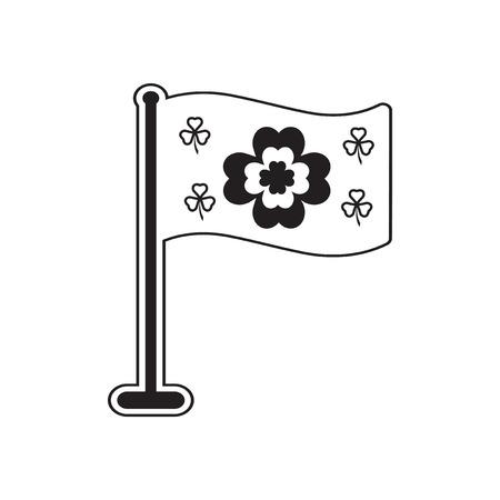 irish pride: Flat icon in black and white  clover flag