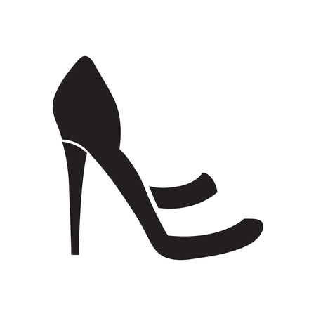 heelpiece: Flat icon in black and  white  stilettos