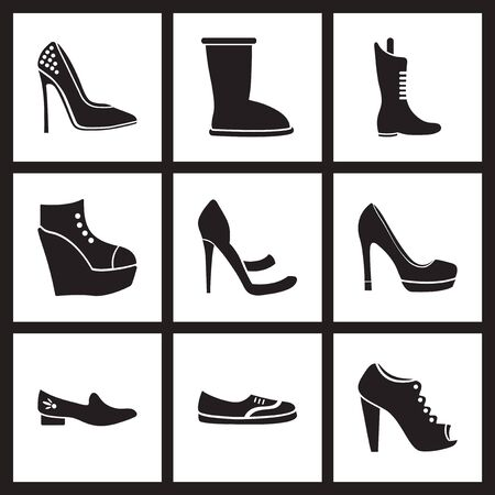 women's shoes: Concept flat icons in  black and white womens shoes Illustration