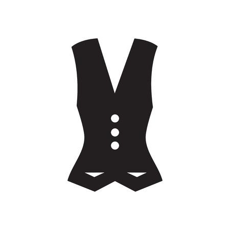 waistcoat: Flat icon in black and  white  Waistcoat Illustration