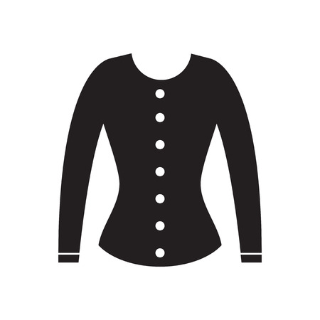 white women: Flat icon in black and  white  women cardigan