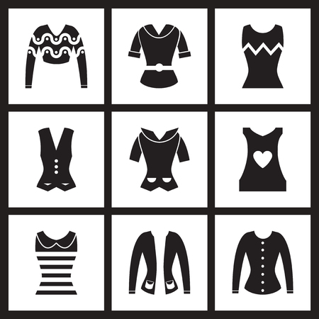 white women: Concept flat icons in  black and white women clothing Illustration