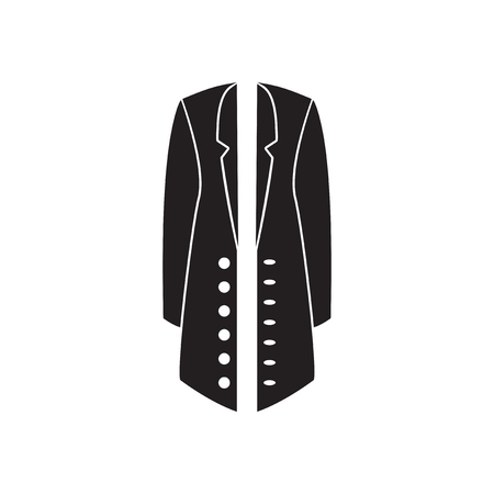 greatcoat: Flat icon in black and  white coat