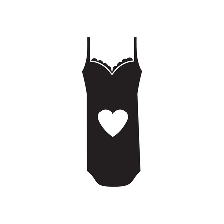 nightdress: Flat icon in black and  white nightdress Illustration