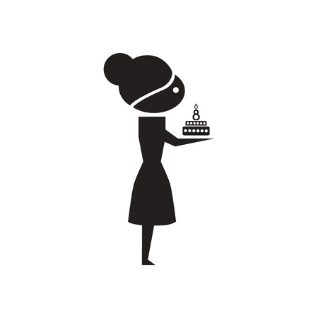 teenage girl dress: Flat icon in black and  white girl with cake Illustration