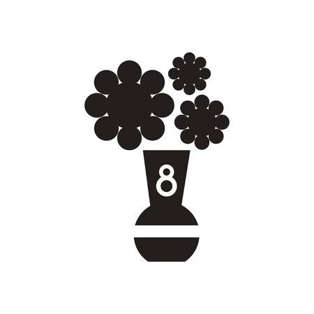flowers in vase: Flat icon in black and  white flowers vase Illustration