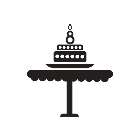torte: Flat icon in black and  white torte Illustration