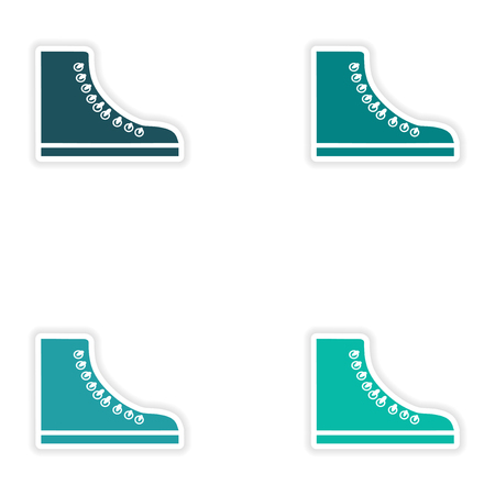 article of clothing: Set of paper stickers on white background gumshoes