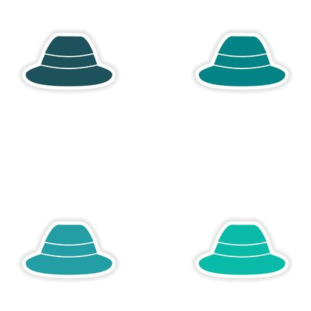 charlie: Set of paper stickers on white background hat Illustration