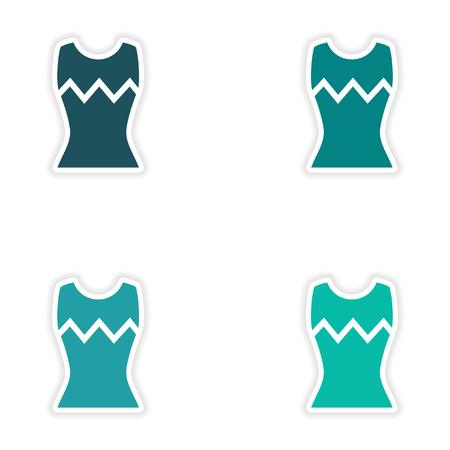 t shirt model: concept stylish paper sticker on white background womens T-shirt Illustration
