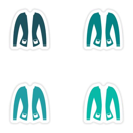 cardigan: concept stylish paper sticker on white background cardigan