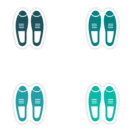 foot gear: Set of paper stickers on white background male shoes Illustration