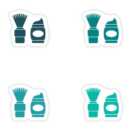 skim: concept stylish paper sticker on white background shaving foam