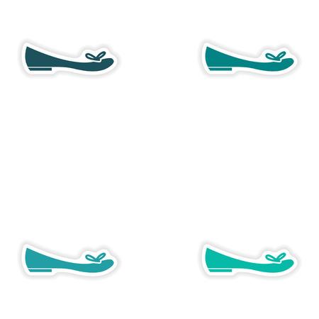 Set Papieraufkleber auf weißem Hintergrund Frauen Schuh