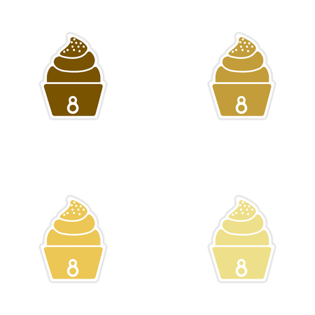 eclair: Concept of paper stickers on white  background cream cake