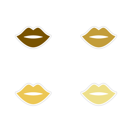 cosmetician: Concept of paper stickers on white  background female lips
