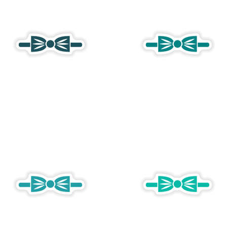 official wear: Set of paper stickers on white background bow-tie