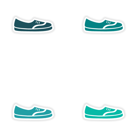 moccasins: concept stylish paper sticker on white background moccasins