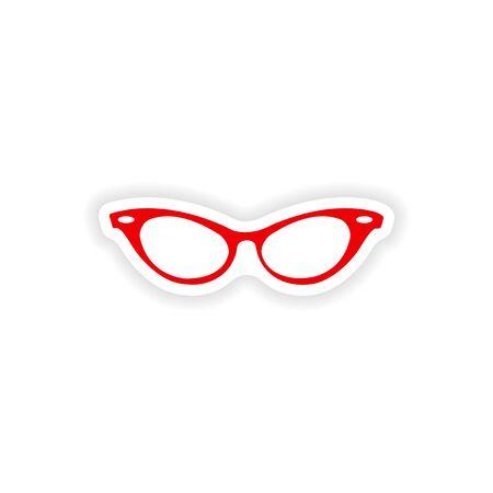 cat's eye glasses: paper sticker on white background glasses women