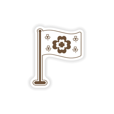 irish culture: stylish paper sticker on white background flag clover