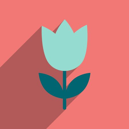 blooms: flat icon with long shadow  tulip blooms Illustration
