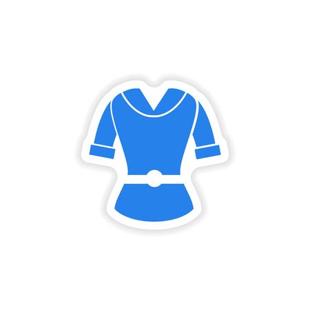 cardigan: stylish paper sticker on white background cardigan Illustration