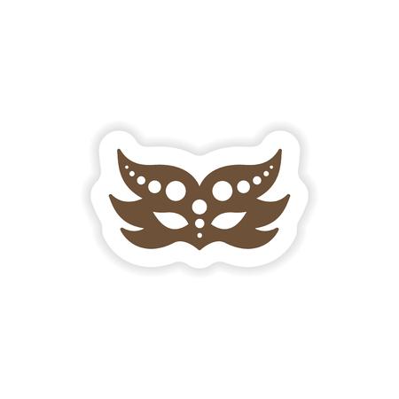 paper mask: stylish paper sticker on white background carnival mask