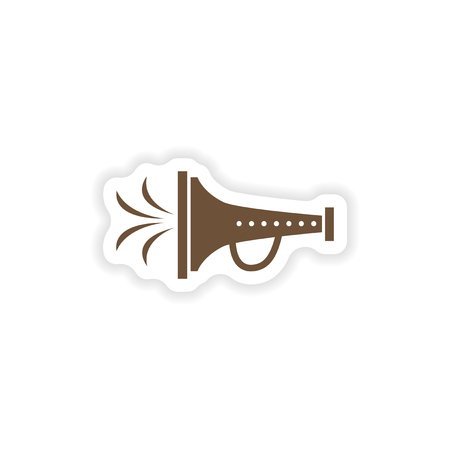 mouthpiece: stylish paper sticker on white background mouthpiece