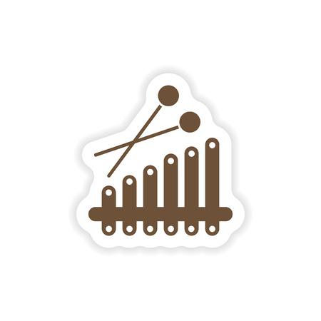 xilofono: elegante etiqueta de papel sobre fondo blanco xilófono