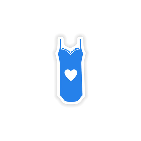 nightdress: stylish paper sticker on white background nightdress