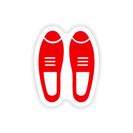 varnished: stylish paper sticker on white background male shoes