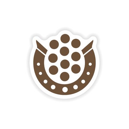 magnetization: stylish paper sticker on white background horseshoe coins