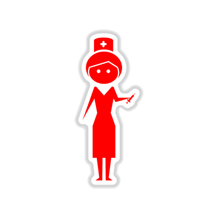 girl stethoscope: paper sticker on white  background woman doctor