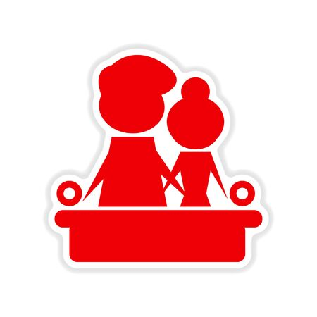 couple on couch: paper sticker on white  background couple on couch Illustration