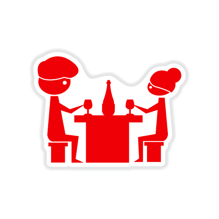 wedding table decor: paper sticker on white  background couple romantic dinner Illustration