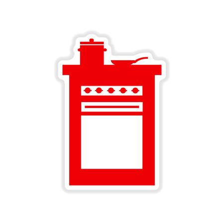 kitchen stove: paper sticker on white  background kitchen stove