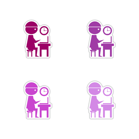 looking at computer screen: Set of paper stickers on white  background office worker