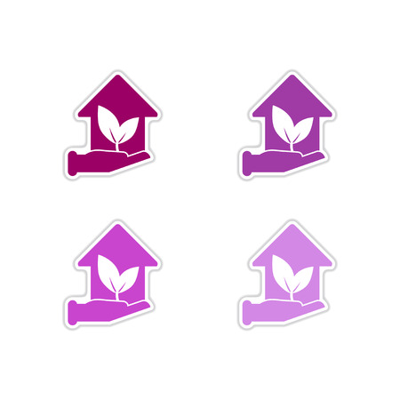 natural arch: Set of paper stickers on white  background Eco-house Illustration