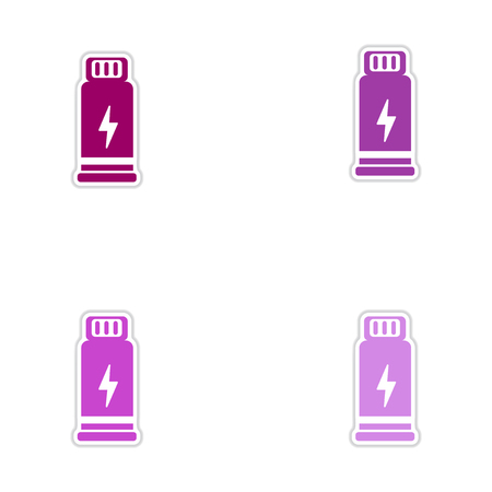 poisoning: Set of paper stickers on white  background Bottles potion