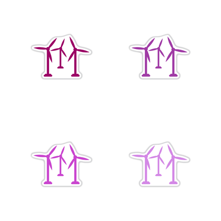 regenerating: Set of paper stickers on white  background wind mill Illustration