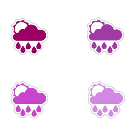 meteorologist: Set of paper stickers on white  background sun clouds rain
