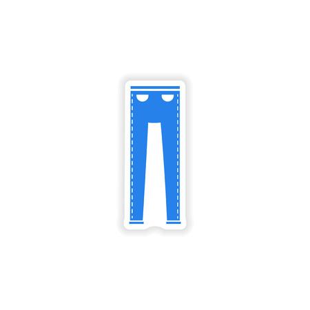 white pants: stylish paper sticker on white background pants
