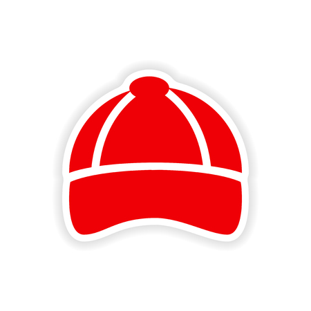 hat with visor: stylish paper sticker on white background cap