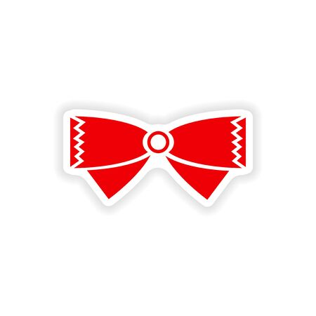 official wear: stylish paper sticker on white background bow-tie