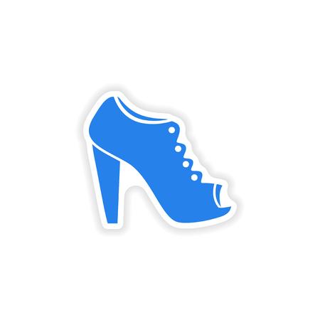 femininity: stylish paper sticker on white background shoes Illustration