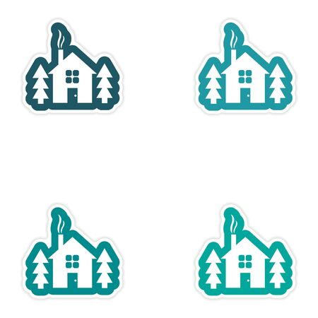 shack: Set of paper stickers on white background house in forest