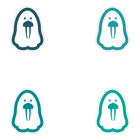 arctic: Set of paper stickers on white background Arctic walrus