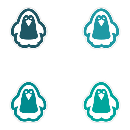 arctic: Set of paper stickers on white background Arctic penguin